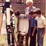 Mrs. Holroyd with some of her 7th grade students at Rawlinson Road Jr. High School in Rock Hill, SC, viewing the eclipse in 1984.  (Photo provided by one of the students)