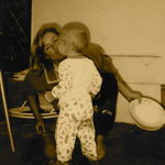 Auntie Di and Daniel in the trailer park where we all lived when he was so young