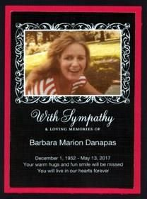 Barbara Marion Danapas obituary photo