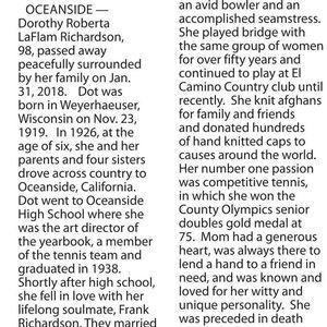 DOROTHY LA FLAM RICHARDSON Obituary Photo
