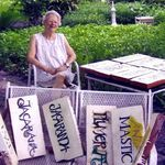 2008: Peg with signs she made for Residents' Garden at Westminster Suncoast