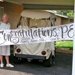 May 2008: after receiving Satterfield Mentor Award from Eckerd College. Congratulations banner by student Ruth Pettis