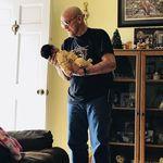 Papa holding his Great Granddaughter (my daughter) Lyric , 12/27/17