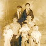 This is the only family portrait that remains of the Wong Family.  Little James is seated on his father's lap.  James was the youngest of 5 boys.