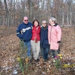 Siblings in the woods near Neshkoro where our parents' ashes are scattered.  11/12/2011