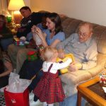 Christmas with the Hales-Great Grandpa playing with Katelyn
