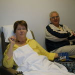 Dad with mom getting chemo