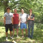 With brother Shannon  and newphews Matthew and Joshua on Vales' river property in Hunt, TX