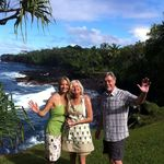 Photo by Kevin Kinsella of his wife Tamara with Betty and Wylie, New Years Day, 2012, at the Vales' home in Hana