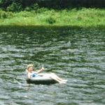 Mom tubing in Brattleboro, VT while camping