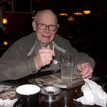 Rod's 89th birthday at the Spaghetti Factory.  Rod really loved their spaghetti with meat sauce and the spumoni ice cream for dessert. I secretly told the server that it was his birthday...so they would sing to him! Photo by Laurence Juhnke