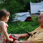 Bumpa and Sarah, one of 11 great grandchildren, having a conversation