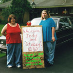 Stacey, Jody and Elmo hold the honor of being the first family members to visit us in Michigan, 8-11-97.