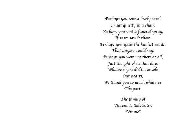 Vincent Salvia Obituary Cheltenham Pennsylvania John F – Funeral Words for Cards