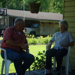 Mike and Dot visting on Nathan and Tammy's porch