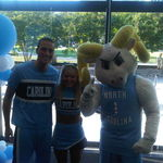 Go Heels...Rameses and UNC cheerleaders at the NC Basketball Hall of Fame Induction Ceremony, 2011
