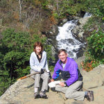 Karen with Jay above the stream at White Oak Canyon
