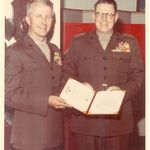 5 JUNE 1972...GENERAL ROBERT E. CUSHMAN JR., COMMANDANT OF THE MARINE CORPS, PRESENTS THE BRONZE STAR AWARD TO CAPTAIN WAYNE A. BABB DURING CEREMONIES HELD IN THE COMMANDANT'S OFFICE.