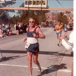 Wayne completing a half marathon, 1983