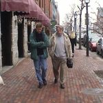 Andrei Belyi and Wayne walk along King Street together in Old Town Alexandria VA