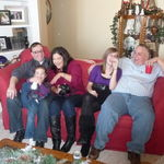 Emily and Dad with Uncle John, Victoria and Isabel Herberger, January 2010