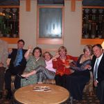 "Emma's brother, Gibby, nephew Bruce, nieces Jeanne, Annie, and Judy, daughter Nancy, and son Jimmy being goofy and doing ""the Judy"" hand dance"