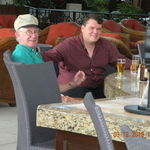 2010, Mick & Harry (aka Pa) enjoying a beer and chat during the Cancun trip