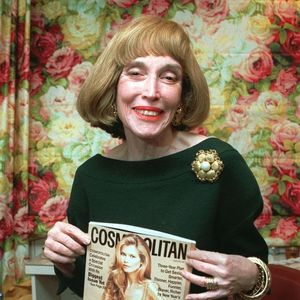 Long-time Cosmopolitan Editor-In-Chief Helen Gurley Brown poses on her desk during an interview in her New York office Monday, Jan. 20, 1997. 