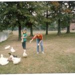 Carrie and Brandy feeding ducks at Elon