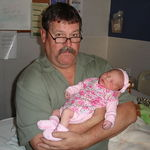 At the hospital with his first grandchild, Addison