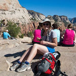 with granddaughter at Mt. Zion -- Margaret loved national parks!