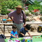 Grandpa and his Two grandsons who adore him, playing at the Encinitas Botanical Gardens