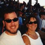 Ross and Jacque at the Cardinals baseball game