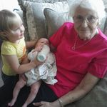 Grandma with great grandchildren Caraline, and Natalie