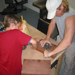 Dad building skate grinding rail with Dan in 03