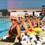 Grandma (front-left) loved water aerobics!