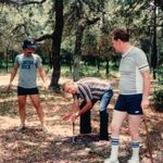 Playing HorseShoes   Clarence, Roy Patterson (Son in Law), Jim Richardson (our wonderful family friend).