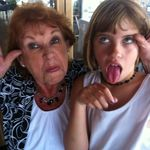 Grandma &amp; Ella being silly Kimberly&#39;s bridal shower July 2012 