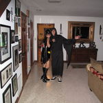 Josh, Mom and Katya dressed up for Halloween looking scary!