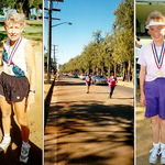 After a 10 km race, Honolulu. Middle photo: Mary running with Mom