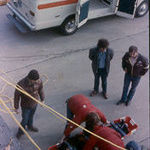 Bob (standing on right) instructing ambulance personnel in Emergency Rescue class at the old Coralville Fire Station in the mid 1970&#39;s.