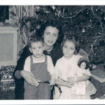 Rose at Christmastime with baby Frank age 1 and daughter Laurie [Lauraine] age 5