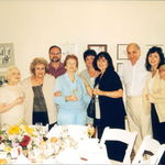 Dinner party at Westfield Court in 2000--from left Jean Butero, Rose, nephew Roy, sister-in-law Mildred, niece-in-law Stephanie, daughter Laurie, brother Roy  and niece Barbara [Bobbie]