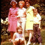 Jean, second from left, with her mother-in-law, left, daughter Sandra, and grandchildren Chris and Barbara Toumbacaris. Three generations are represented here.