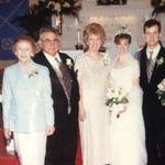 Jean at the 2001 wedding of her grandson Chris Toumbacaris. From left to right are Jean Fortman, Bill, Sandra, Megan, and Chris Toumbacaris, Barbara, Len and Mariah Senecal.
