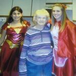 Grandma Nadine and her great grandaughters Elizabeth and Brianna Petersen on halloween. Grandma always wanted to see the girls in costume every year.