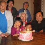 Mom's 82nd birthday with cousin May Huey, Gladys & Steve Hong.