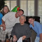 """Tommy with his """"Ma"""", Dad and Grandpa Price"""