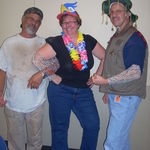 Glenn and colleagues posing as &quot;carnies&quot; at college assessment fair.  
