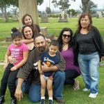 Mom with family at Calvary Cemetery.